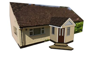 3d Render for proposed porch extension Uttlesford [1531]
